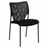 Big and Tall Designer Black Mesh Fabric Stacking Side Chair with Black Powder Coated Frame Finish - RUT-NC178D-BK-GG