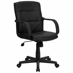 Big and Tall Eco-Friendly Black Leather Mid-Back Office Chair with Nylon Arms - GO-228S-BK-LEA-GG