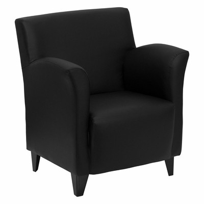 Big and Tall Roman Black Leather Reception Chair - ZB-ROMAN-BLACK-GG