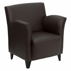 Big and Tall Roman Brown Leather Reception Chair - ZB-ROMAN-BROWN-GG