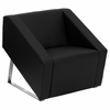Big and Tall Smart Black Leather Reception Chair - ZB-SMART-BLACK-GG