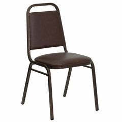 "Big and Tall Stack Chair with Trapezoidal Back and a 1.5"" Padded Foam Seat - Brown Vinyl with Copper Vein Frame - FD-BHF-2-BN-GG"