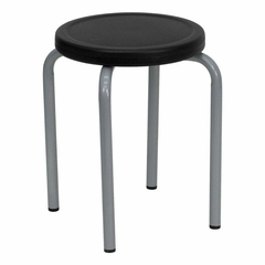 Big and Tall Stool with Black Seat and Silver Powder Coated Frame - YK01B-GG