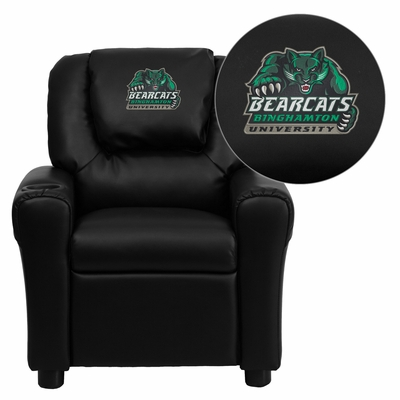Binghamton University Bearcats Black Vinyl Kids Recliner - DG-ULT-KID-BK-41006-EMB-GG