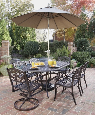 Biscayne 7-Piece Outdoor Dining Set in Rust Brown - Home Styles - 5555-3358