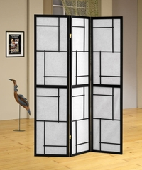 Black 3 Panel Folding Screen - 900102