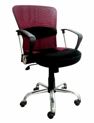 Black and Burgundy Mesh Office Chair - Lindsay - 09749