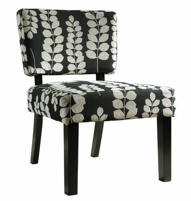 Black and Cream Floral Oliver Accent Chair - Powell Furniture - 741-607