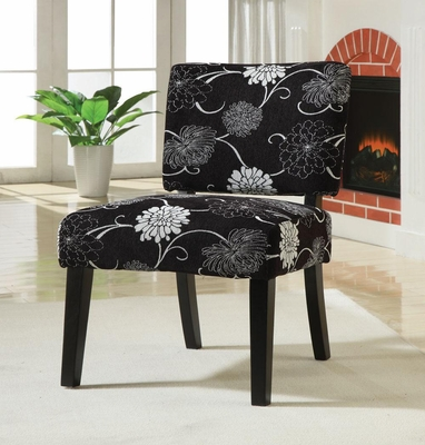 Black and White Floral Accent Chair  - 902048