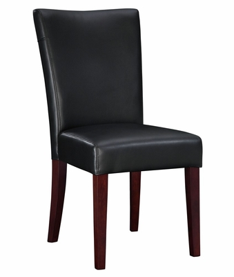 Black Bonded Leather Parsons Chair, 20-1/2