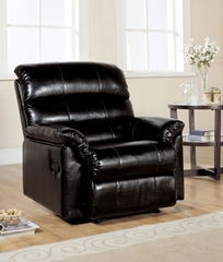 Black Bonded Leather Recliner - Riva - 15110