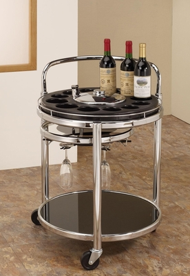 Black & Chrome Serving Cart with Bottle Holders - 910071