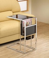 Black & Chrome Snack Table with Magazine Rack - 901012