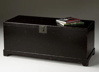 Black Cocktail Trunk in Distressed black - Butler Furniture - BT-1572184
