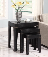 Black Crocodile Faux Leather 3-Piece Nested Tables - Powell Furniture - 814-266