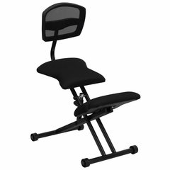Black Ergonomic Kneeling Chair with Mesh Back - WL-3440-GG