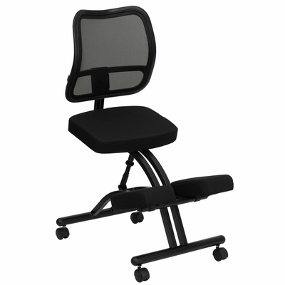 Black Ergonomic Kneeling Office Chair - Black Mesh Back - WL-3520-GG