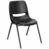 Black Ergonomic Shell Stack Chair - RUT-EO1-BK-GG