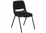 Black Ergonomic Shell Stack Chair with Fabric Upholstered Seat and Back - RUT-EO1-01-PAD-GG