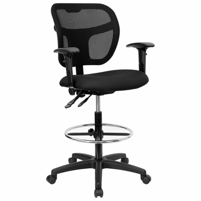 Black Fabric and Mesh and Mesh Drafting Stool with Arms - WL-A7671SYG-BK-AD-GG