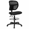 Black Fabric and Mesh Drafting Stool - WL-A7671SYG-BK-D-GG