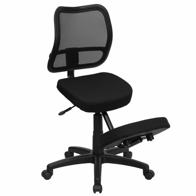 Black Fabric Ergonomic Kneeling Chair with Mesh Back - WL-3425-GG