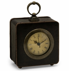 Black Faux Leather Clock - IMAX - 5983
