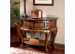 Black Fossil Stone Top Demilune Console Table
