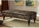 Black & Gold Lift Top Accent Bench with Casters - 501078