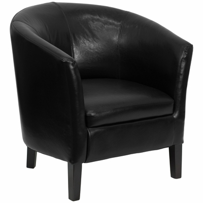 Black Leather Barrel Shaped Reception Chair - GO-S-11-BK-BARREL-GG