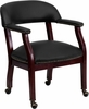 Black Leather Conference Chair - B-Z100-LF-0005-BK-LEA-GG