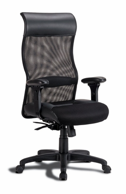 Black Leather Mesh Chair in Black Leather - Coaster