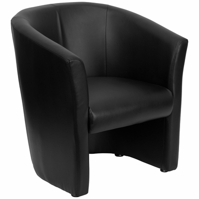 Black Leather Reception Chair - GO-S-01-BK-QTR-GG