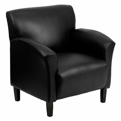 Black Leather Reception Chair - JQ-W-04-BK-GG