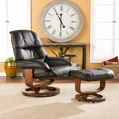 Black Leather Recliner and Ottoman - Holly and Martin
