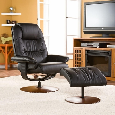 SEI Black Leather Recliner and Ottoman