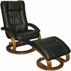 Black Leather Swivel Recliner Chair and Ottoman - Mac Motion Chairs - 84-71-103