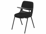 Black Left Side Tablet Arm Chair with Fabric Seat and Back - RUT-EO1-01-PAD-LTAB-GG