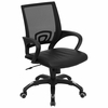 Black Mesh Office Chair with Black Leather Seat - CP-B176A01-BLACK-GG