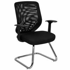 Black Mesh Office Side Chair with Mesh Back and Mesh-Over-Foam Seat - LF-W953-BK-GG