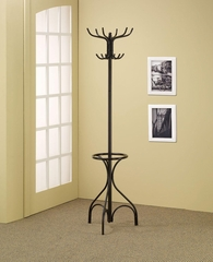 Black Metal Coat Rack with Umbrella Holder - 900821