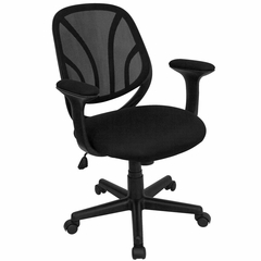 Black Mid Back Mesh Computer Task Chair with Arms - GO-WY-05-A-GG