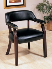 Black Office Guest Chair with Nailhead Trim - 511K
