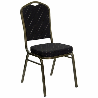 Black Patterned Crown Back HERCULES Banquet Chair - Gold Vein Frame - FD-C01-GOLDVEIN-S0806-GG