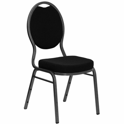 Black Patterned HERCULES Teardrop Banquet Chair - Silver Vein Finish - FD-C04-SILVERVEIN-S076-GG