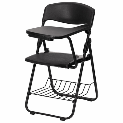 Black Plastic Chair with Left Handed Tablet Arm and Book Basket - RUT-L03-TAB-LFT-GG