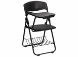 Black Plastic Chair with Right Handed Tablet Arm and Book Basket - RUT-L03-TAB-RT-GG