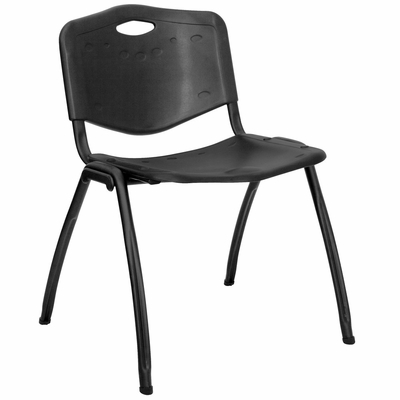 Black Polypropylene Stack Chair - RUT-D01-BK-GG
