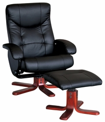Black PU Chair and Ottoman Set (Stressless) - Leesa - 19800
