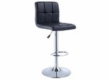 Black Quilted Faux Leather and Chrome Adjustable Height Bar Stool - Powell Furniture - 212-851